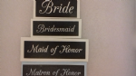 Wedding words - Bride, Bridesmaid, Maid & Matron of honor  word stencils mix for etching on glass